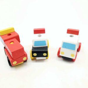 Policijski auto vatrogasni kamion i hitna pomoć drvena vozila na sklapanje (1)